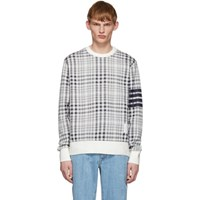 Thom Browne Navy And White Shadow Check Jacquard Sweatshirt