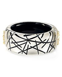 Alexis Bittar Studded Lucite Hinge Bangle Silver Black Gold