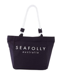 Seafolly Carried Away Canvas Rope Beach Tote Bag Blue