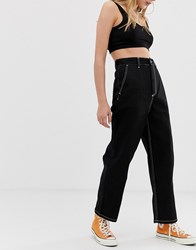 Carhartt Wip Wide Leg Jeans With Contrast Stitching Black