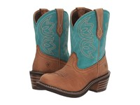 Ariat Charlotte Tan Turquoise Cowboy Boots Brown