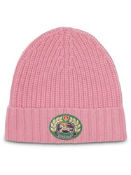 Burberry Embroidered Crest Rib Knit Wool Cashmere Beanie Pink