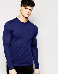 Dkny Crew Jumper Double Collar Blue