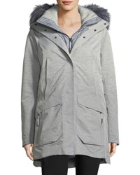 The North Face Zip Front Hooded Gore Tex Parka Jacket W Faux Fur Mid Gray