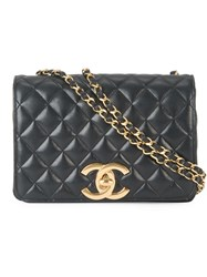 Chanel Vintage Quilted Single Chain Shoulder Bag Black