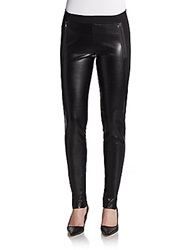 Dex Ponte Paneled Faux Leather Leggings Black