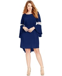 Love Squared Plus Size Bell Sleeve Crochet Trim Dress Navy