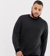 Tom Tailor Plus Houndstooth Jacquard Jumper In Black