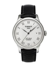 Tissot Mens Silvertone And Leather Watch Black