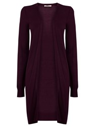 Oasis Longline Edge To Edge Cardigan Burgundy
