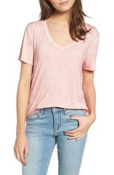 Women's Bp. Washed V Neck Tee Pink Silver