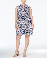 Charter Club Plus Size Printed Sheath Dress Only At Macy's Intrepid Blue Combo