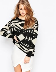 Ax Paris Jumper In Aztec Knit Black