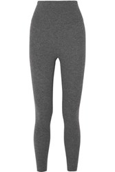 Eres Attitude Ribbed Wool And Cashmere Blend Leggings Gray