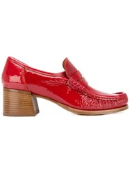 Lathbridge By Patrick Cox Stacked Heel Loafers Women Leather Patent Leather 39 Red