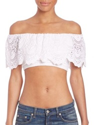 Nightcap Clothing Off The Shoulder Lace Cropped Top White