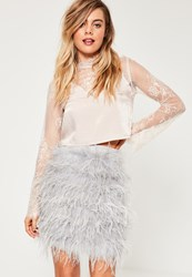 Missguided Grey All Over Feather Mini Skirt