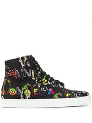 Versus Multicoloured Print High Top Sneakers Black