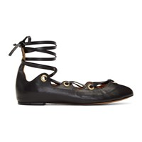 Isabel Marant Black Leomia Lace Up Ballerina Flats