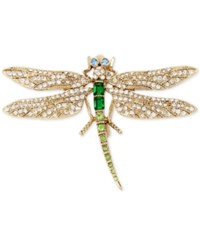 Betsey Johnson Gold Tone Multi Crystal Dragonfly Pin