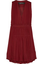 Isabel Marant Adara Pleated Voile Dress Red
