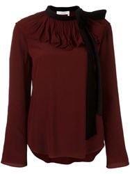 Chloe Velvet Collar Blouse Pink Purple