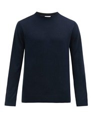 Paul Smith Logo Embroidered Merino Wool Sweater Navy