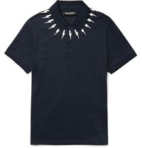 Neil Barrett Slim Fit Printed Cotton Pique Polo Shirt Blue