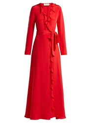 Goat Hollywood Ruffle Trimmed Silk Dress Red
