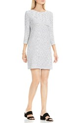 Vince Camuto Women's Two By Nautical Stripe Button Back Terry Dress Ultra White