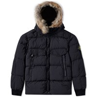 Stone Island Waxed Tela Nylon Down Jacket Black