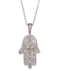 Macy's Diamond Hamsa Pendant Necklace In Sterling Silver 1 10 Ct. T.W.