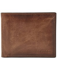 Fossil Men's Rfid Derrick Leather Passcase Brown