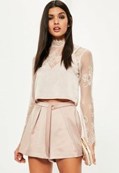 Missguided Rose Gold Buckle Pleated Satin Shorts Pink