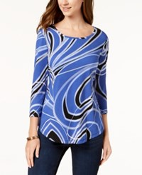 Jm Collection Printed T Shirt Created For Macy's Blue Romantic Ribbon