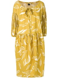 Aspesi Leaf Print Dress Yellow And Orange