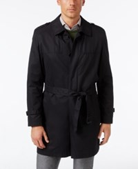 Kenneth Cole New York Men's Russell Water Repellent Belted Trench Coat Black