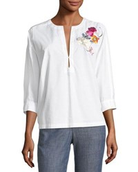 Trina Turk Exotic Bloom Embroidered Poplin Top White