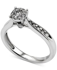 Macy's Diamond Cluster Engagement Ring 3 8 Ct. T.W. In 14K White Gold