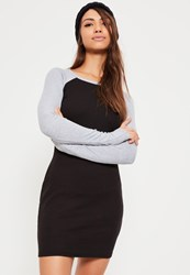 Missguided Black Contrast Sleeve Ribbed Bodycon Dress Multi