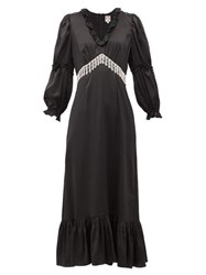 Shrimps Rosemary Crystal Fringe Satin Midi Dress Black