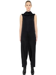 Rick Owens Draped Shiny Viscose Crepe Jumpsuit
