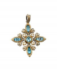Konstantino Amphitrite Mixed Cut Topaz And Pearl Cross Pendant Enhancer Blue