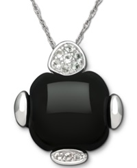 Macy's Sterling Silver Necklace Onyx 15 Ct. T.W. And White Topaz 1 8 Ct. T.W. Pendant