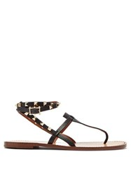 Valentino Rockstud Double Strap Leather Sandals Black