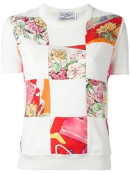 Salvatore Ferragamo Multi Print T Shirt White