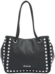 Love Moschino Silver Studded Tote Bag Women Polyurethane One Size Black