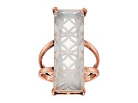Guess Long Rectangular Faux Stone Ring Rose Gold White Opal Ring