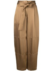 Sally Lapointe Loose Fit Tie Waist Trousers Brown