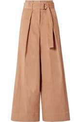 Ulla Johnson Rhodes Belted Cotton Corduroy Wide Leg Pants Camel